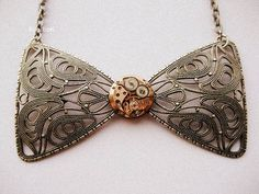 Steampunk Bow Necklace by KoollooK on Etsy, $45.50