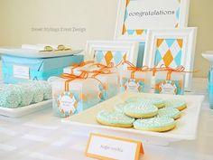 Dessert table aqua orange
