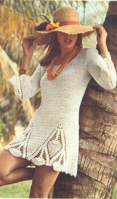 PDF 7309 Vintage 1970s Pineapple Crochet Tunic Mini Dress Pattern   CEMETARIAN Hook Purl & Thimble #vintagecrochet #dress #pineapplecrochet
