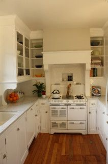 Small cabinets on both sides of stove