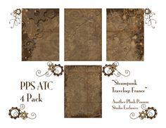 craft, steampunk atc, possum studio, background freebi, free printabl, plush possum, steampunk printabl, atc idea, atc backgrounds