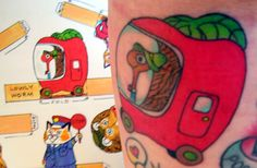 Tattoo of Richard Scarry's Lowly Worm, via Flickr.