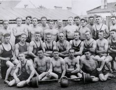 Vintage Weight Lifting Team weight lifter, vintag men, backyard gym, vintag bodybuild, old school, sport, vintag team, weightlift team, vintag weightlift