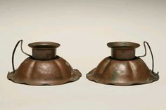 Pair, Arts and Crafts Craftsmen copper candle holders