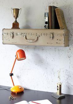 wall decor, bedroom decor, vintage suitcases, old suitcases, shelving units, vintage inspired, bedroom designs, case shelf, retro vintage
