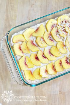 Peach Shortbread recipe where the crust does double duty as the topping too!