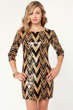 Gorgeous Sequin Dress - Gold Dress - Black Dress - $76.00