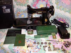 Singer Featherweight sewing machine.