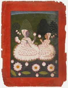 Lotus-clad Radha and Krishna circa 1700-1710 indian paint, art galleri, indian art, lotusclad radha, krishna, paper, indian miniature paintings, hillsindiayearcirca 17001710, flower
