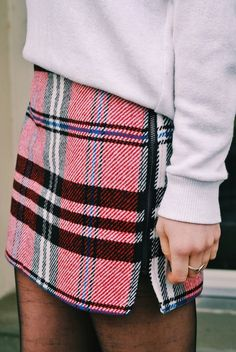 StichFix Stylist - Love the look of a plaid skirt with a sweater/sweatshirt and tights