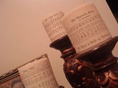 Sheet music on candles