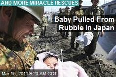 Japan Earthquake: A 4-month old baby girl was pulled from the rubble in the coastal town of Ishinomaki, where she had been wrenched from her parents when the tsunami hit 3 days before. Soldier, who was now on a recovery mission after finding 2000 bodies, at first thought they were hearing things. When they heard the baby cry again, they pulled from the rubble. Not only had she been saved from drowning, but from injury as well; she was simply cold and wet. She was quickly reunited with her family