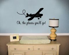 Oh the Places You'll Go! - Boys Room Decal - Nursery - Baby - Toddler - Aviator - Airplane