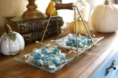 #Vintage glass and gold candy dish from #Goodwill in a #fall display.  #thrift #decor