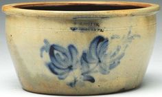 """Sold For $ 1,900  19th century. Stamped William Moyer of Harrisburg, PA. Retains original freehand cobalt blue decoration.Condition (Excellent). Size 5 - 1/4"""" T.                            Condition report           (Excellent)."""