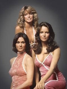 The original Angels: Jaclyn Smith, Farrah Fawcett-Majors, and Kate Jackson, 1976