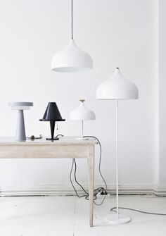 farm table + lighting + white