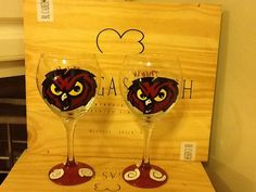 Hand Painted Temple Owls Wine Glass on Etsy, $26.95