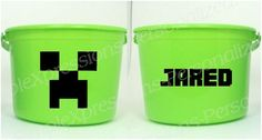 Creeper Minecraft party personalized pail