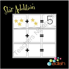 Star Addition from edlah Preschool Resources  on TeachersNotebook.com -  (3 pages)  - Printable game board and cards to teach simple beginner addition. Space/star themed.