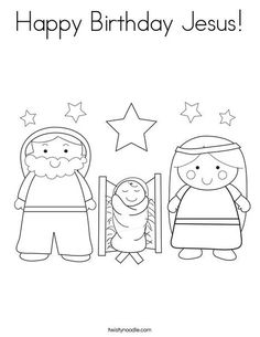 Christmas on pinterest christmas coloring pages for Happy birthday jesus coloring pages
