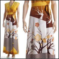 Vintage 70s Kimono Floral Graphic Print High Waist Wrap Maxi Dress Boho Hippie | eBay