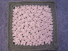 In Treble 12-inch square - clusters done in rounds like a granny square  #crochet #square #granny_square