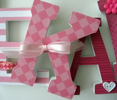 Custom Hand Decorated Wooden Letters PINK - Nursery Bedroom Home Décor, Wall Decorations, Wood Letters, Personalized