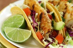Beer Battered Fish Tacos with Avocado Salsa & Tomato Yum, Must make this weekend <3