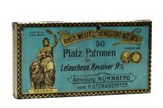 9mm pinfire box by Rheinisch-Westfälischen Sprengstoff-Fabriken A.-G.