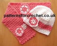 Free Girls Hat  Scarf set from http://www.patternsforcrochet.co.uk/girls-hat-scarf-usa.html #crochet pattern girl, crochet hat, craft, scarf set, girl hat, knit, scarves, babi crochet, free crochet patterns for hats