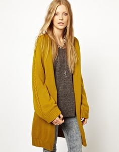Image 1 ofSomedays Lovin Chunky Knit Cardigan In Marigold