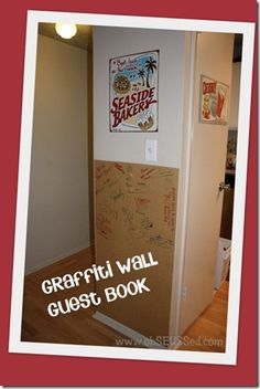 50's Party - DIY Graffiti Wall - have friends and family sign it when they visit