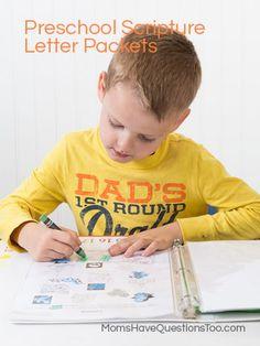 Preschool Scripture Letter Activity Packs - Moms Have Questions Too