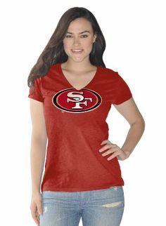NFL San Francisco 49ers Ladies V-neck T-shirt with Distressed 49er's Logo