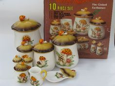 Photo of Retro 70s Merry Mushrooms canister and kitchen ware set, vintage Sears box #1