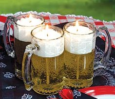 These 13 ounce unscented Beer Mug Candles look like a frothy mug of beer when it's actually a glass mug filled with gel and topped with wax. Our 5 1/2 inch high Beer Candles make great guest favors and they will burn for 80-100 hours!