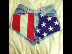 DIY High-Waisted American Flag Shorts