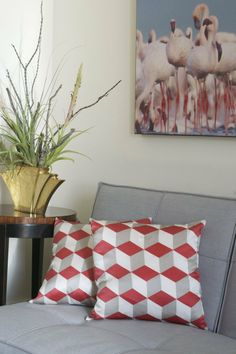patterned silk pillows from west elm