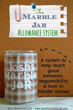 The Marble Jar Allowance System: Helps teach good behavior, responsibility (chores) and early money management skills.  **LOVE** this!!