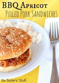 Slow Cooker BBQ Apricot Pulled Pork Sandwich from Six Sisters on MyRecipeMagic.com is a great sandwich for a warm dinner on a cold day.  #sandwich #pulledpork #BBQ