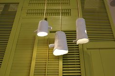 headboard, shutter, pendant lights