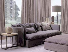 shades of warm greys for the contemporary living room = Frigerio Kimono Sofa