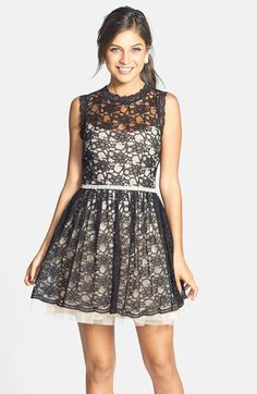 Lace Overlay Fit & Flare Party Dress