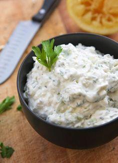 FETA DIP: 1 1/2 c feta cheese crumbles; 1 1/2 c sour cream; 3 green onions, sliced then chopped; 2 cloves garlic, minced; 1/4 c flat-leaf parsley, chopped; 1 T fresh oregano, chopped; Juice from 1/2 a lemon; Salt and pepper, to taste