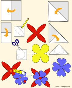 idea, squares, flower crafts, paper flowers craft, friday fun, craft projects, papers, aunts, paper flower craft