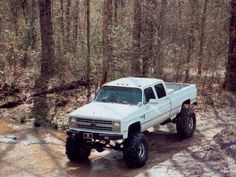 Favorite truck ever, by far. 1987 Chevy Crew Cab 2500 4x4 & needless to say, jacked way up.