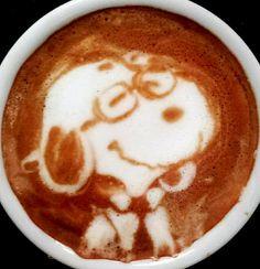 .·:*¨¨*:·Coffee ♥Art.*¨¨*:·. #Snoopy #latte #coffee