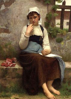 """François Alfred Delobbe (french,1835-1920) -""""Jeune fille de Concarneau"""" - 1883"""