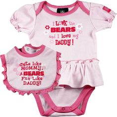 Brian will love this....Chicago Bears Pink Onesie Dress and Bib